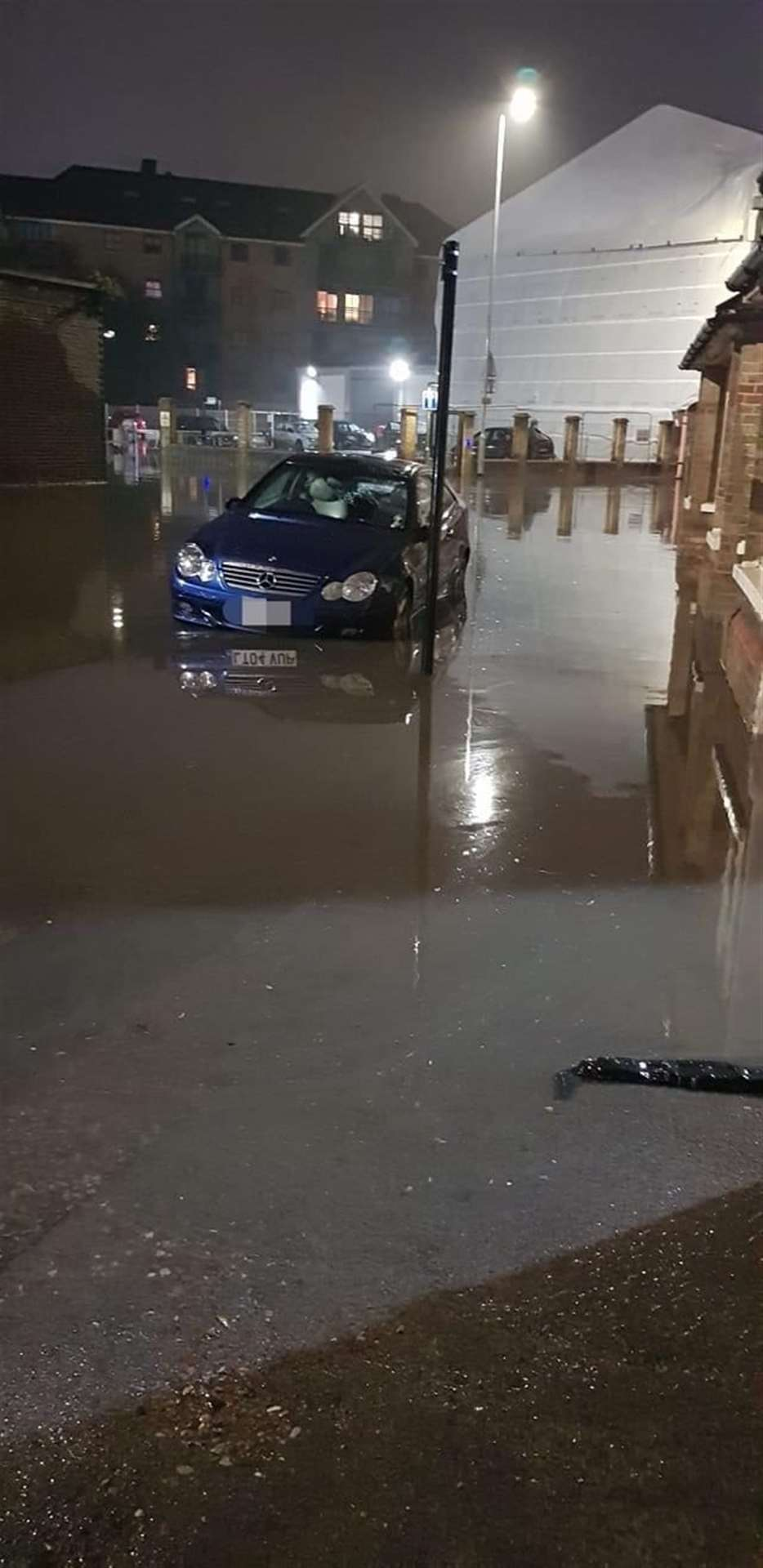 Dane Street flooded near the Allinson flour mill exit. Picture: Emma Hilliard