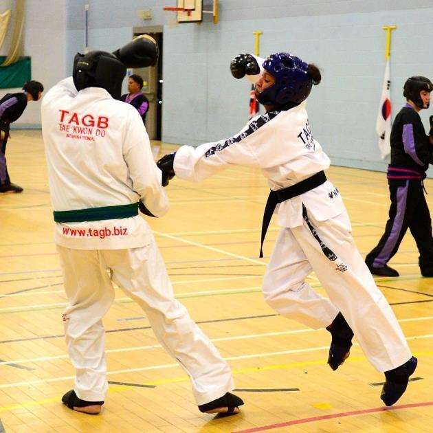 Taekwondo champion Tyha Currie in action
