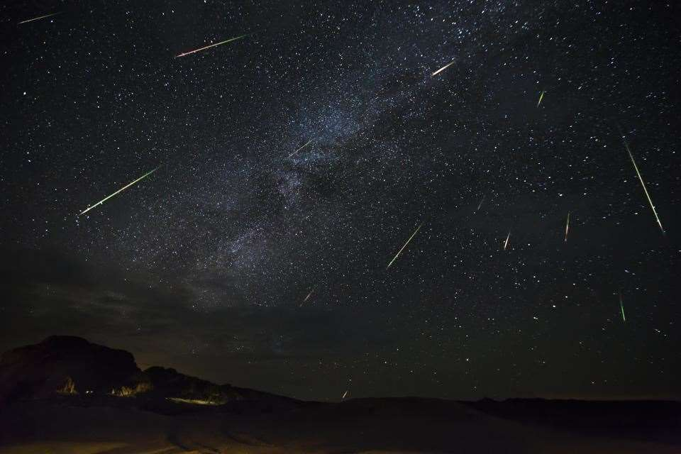 A long exposure photo of the Perseid meteor shower (40348926)