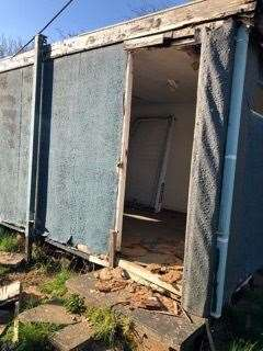 The damaged storage cabin at Rickling's football ground (45762028)