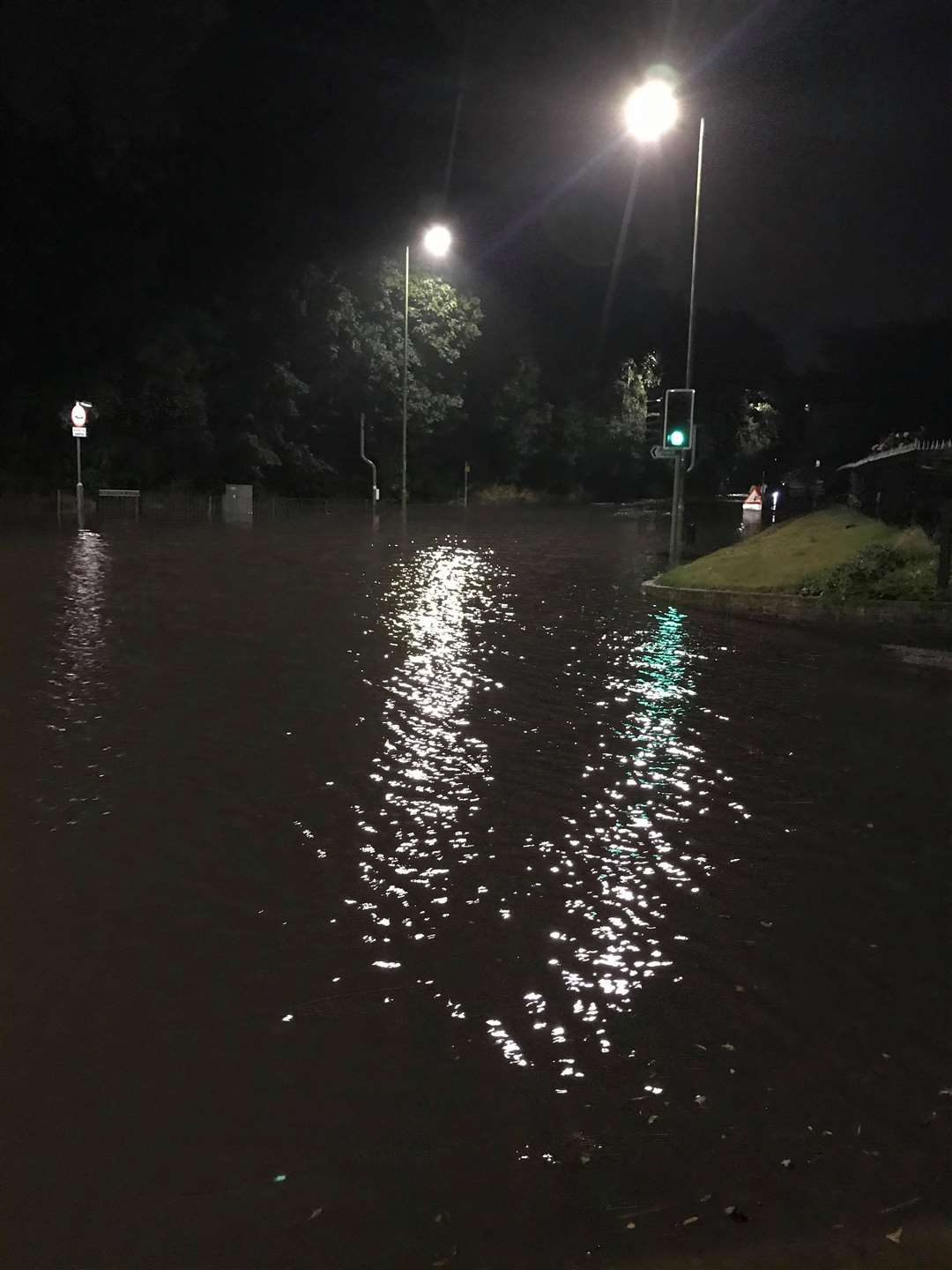 The 'lake' at the junction of Stansted Road with Parsonage Lane and Legions way. Picture: Vicki Galvin
