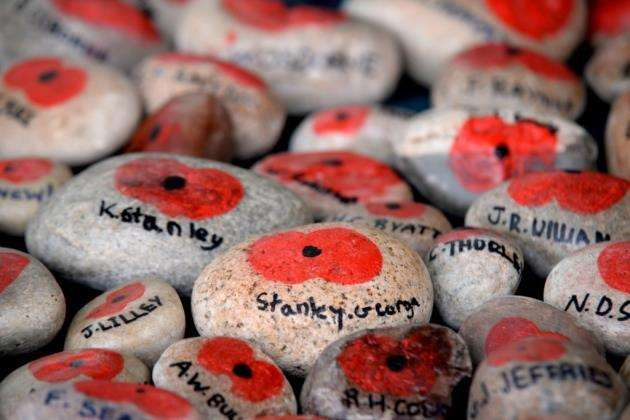 Birchwood School, Bishops Stortford. Pupils have created 308 poppy stones each with the name of a local soldier that lost his life in WW1 or WW2. Pic: Vikki Lince