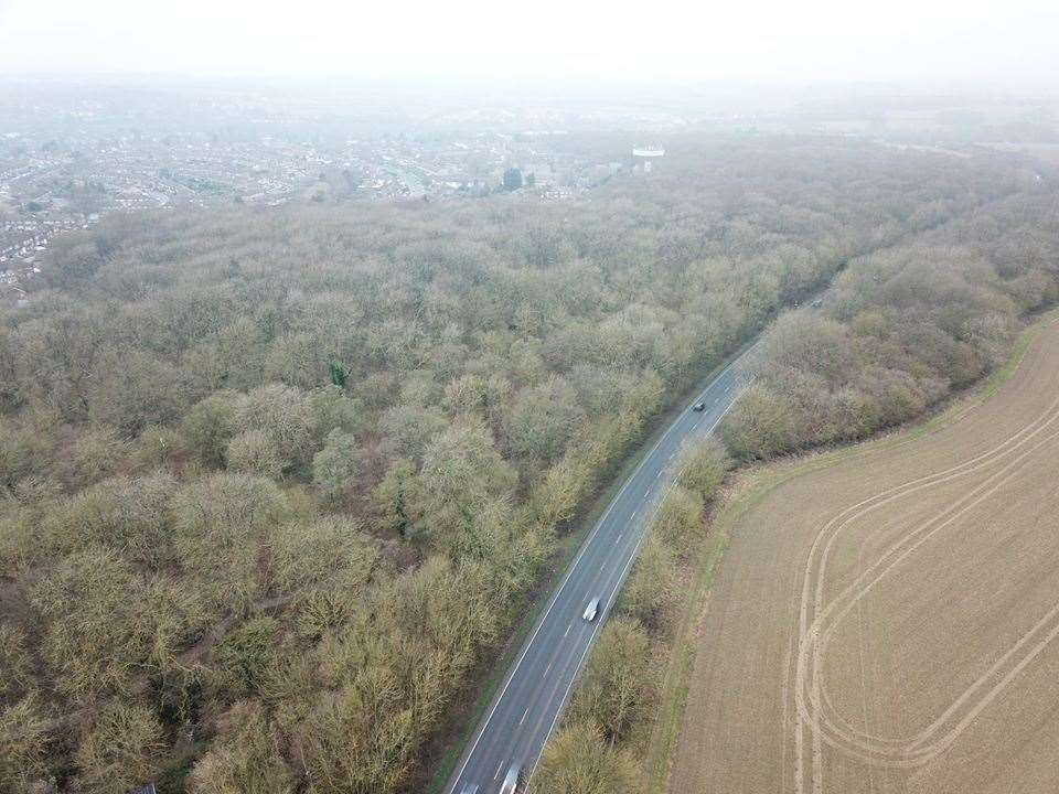 Drone footage of the A120 bypass through Birchanger Wood (44014245)