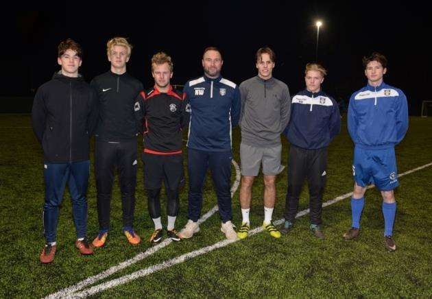 Kevin Watson, centre, gave several Bishops Stortford Academy youngsters first-team action, including, from left, Max Brassington, Callum Taylor, Joe Ryan, Jordan Westcott, Alfie Mason and Jack Thomas Picture: Vikki Lince
