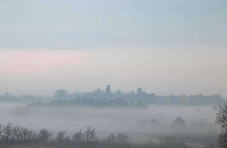 A cold and misty start to the last day of meteorological winter on Sunday, looking from Spellbrook towards Bishop's Stortford with St James the Great Church at Thorley in the distance. Picture: David Francis (44765558)