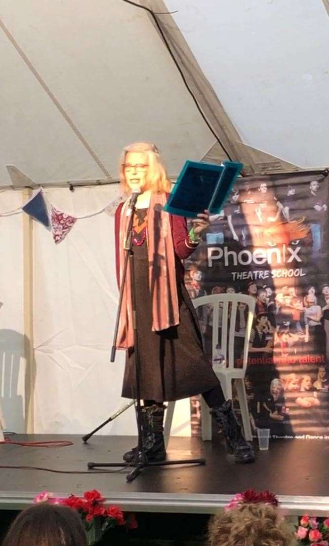 Julie Walker reading her poetry at the 2019 Bish Bash music festival in Stortford