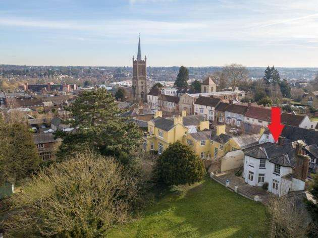 The former Legion premises are denoted by the red arrow in this drone picture