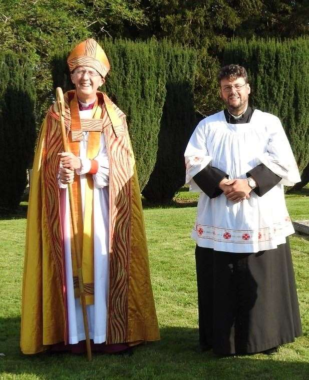Fr Simon Vivian at his induction with the Bishop of Hertford, the Rt Rev Dr Michael Beasley
