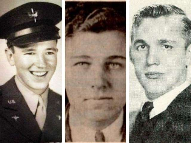 From left, Pilot Howard Noland, 24, flight engineer Jake Crider, 27, and radio operator and gunner Warren Terrian, 23 (51652314)