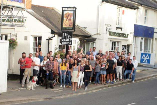 Regulars, staff and neighbours gather to support landlady Michelle Brace in her effort to save The Wheatsheaf pub from closure Picture: Michael Boyton