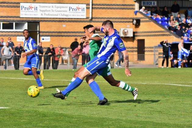 Blues v Leatherhead: Jake Cass fires home his 89th-minute equaliser on his Stortford debut Pic: Nathan Cracknell