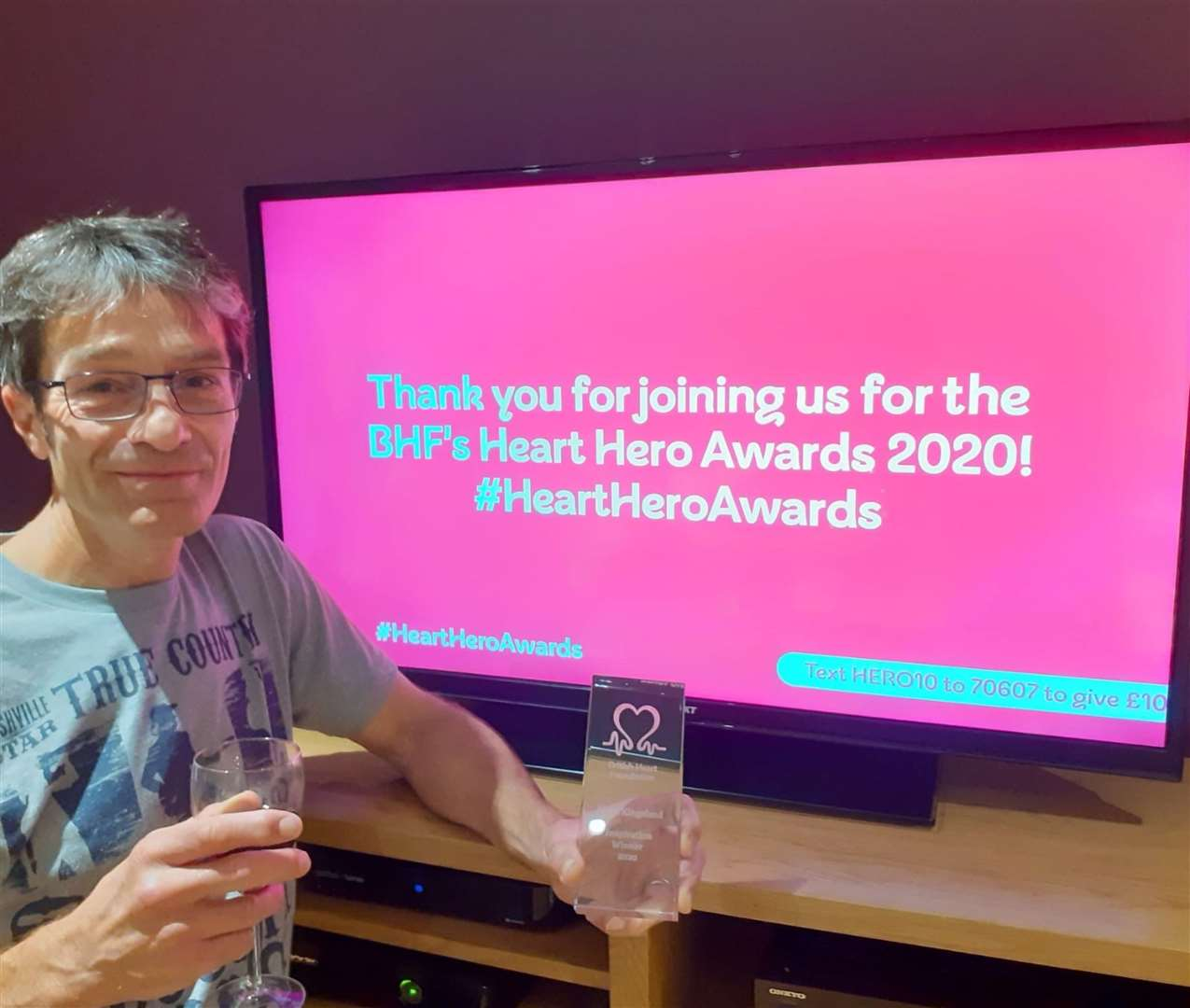 Mark Kingsland won an Inspiration award at the BHF's virtual Heart Hero Awards.
