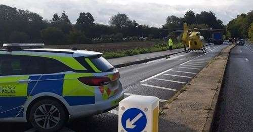 The air ambulance landed on the road close to the scene of the collision
