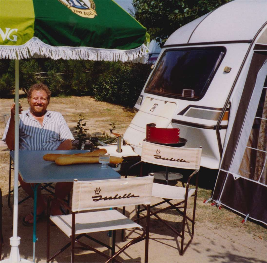 Chas pictured by his caravan in 1991 when he was 45 (33430045)