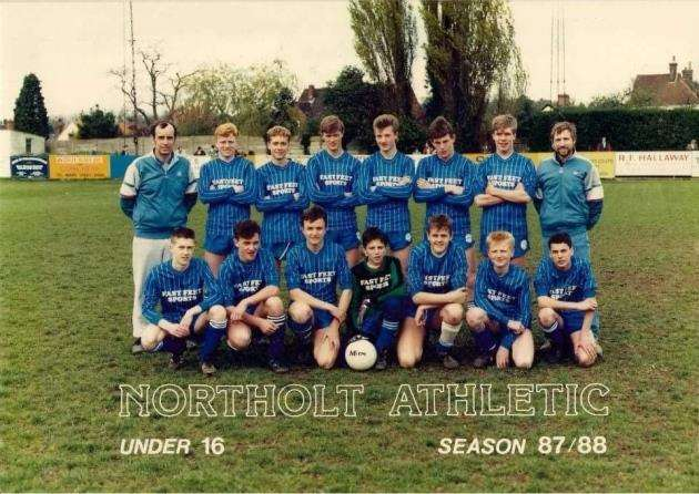 Northolt Athletic under-16s in the 87/88 season. Back row, left to right, manager Dennis Rae, Julian Pegg, Stephen Perry, Nick Heywood, Chris Bond, Robert Kimberly, Jason Stanley, coach and linesman Geoff Pegg. Front row, left to right, Nick Perry, Simon Robinson, Robert Vaneveld, Jez Waskett, Darren Gray, Steven Nunn, Martin Rae.