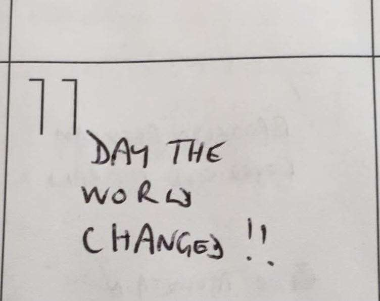 Andy Lines' diary entry for Tuesday 11 September 2001 (50977714)