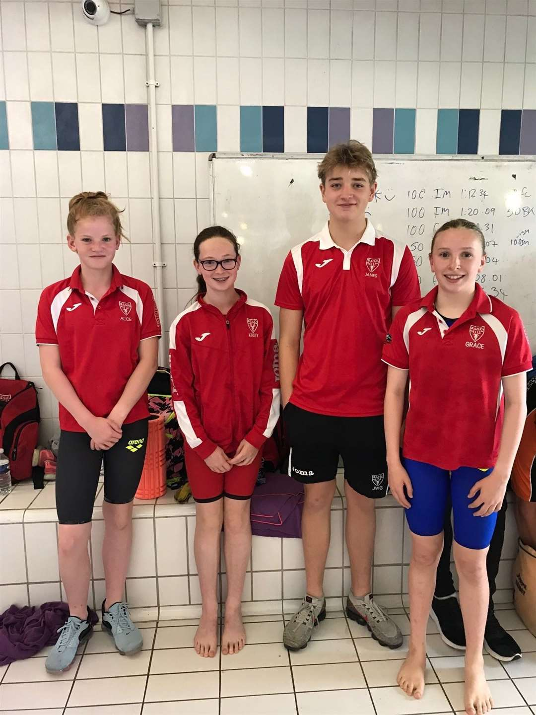 Bishop's Stortford Swimming Club. From left, Alice Longman, Kirsty Neill, James Gisborne and Grace Mason. (12883722)