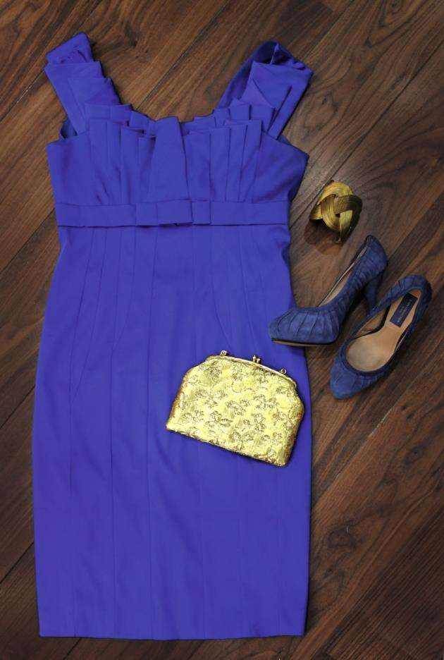 Karen Millen blue dress size 12 £30, Zara shoes size 3 £15, bag and bracelet from a selection £3+ Picture: Sarah Lord