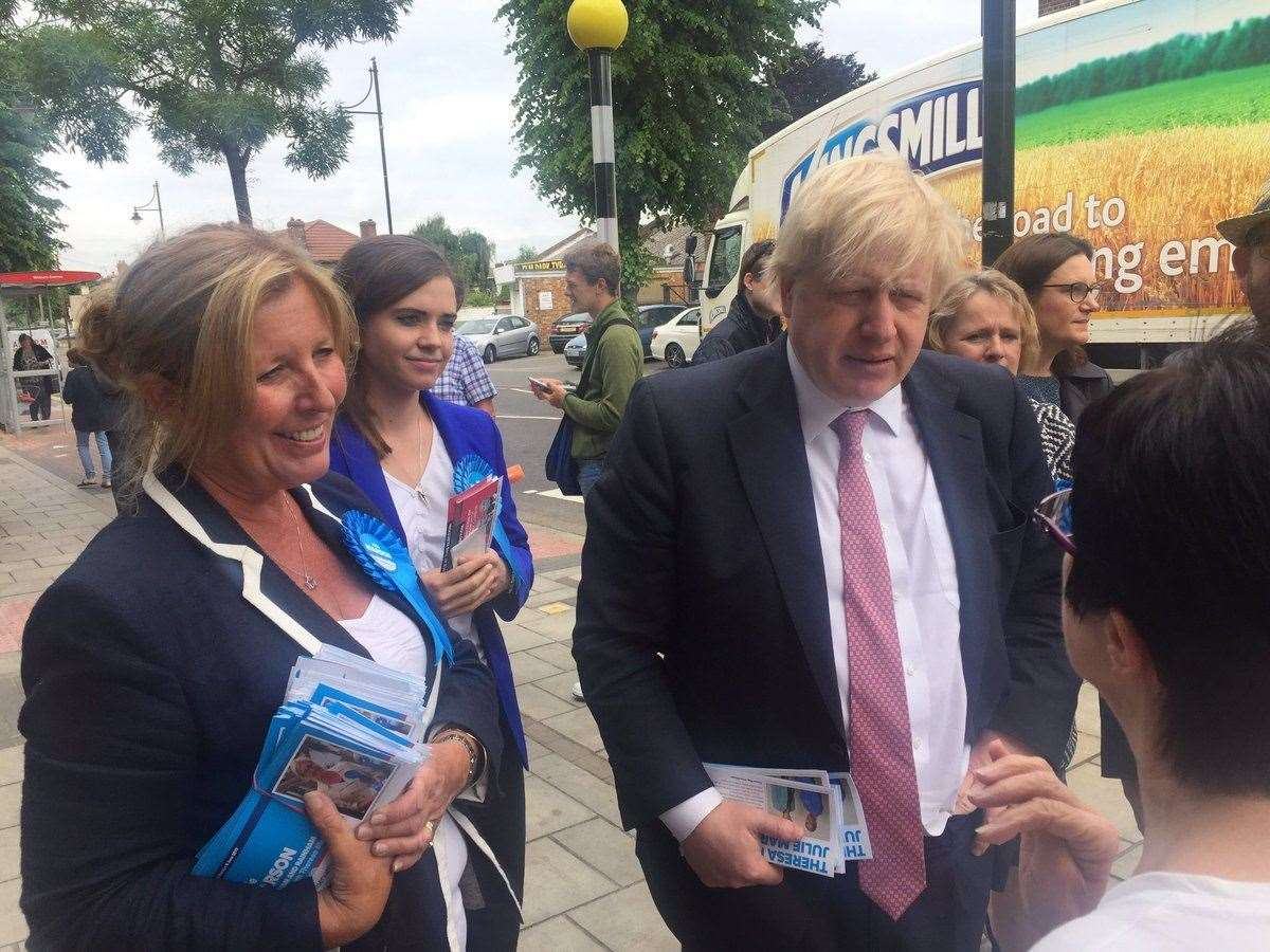 Julie Marson campaigning with Boris Johnson in Dagenham for the 2017 General Election (24132582)