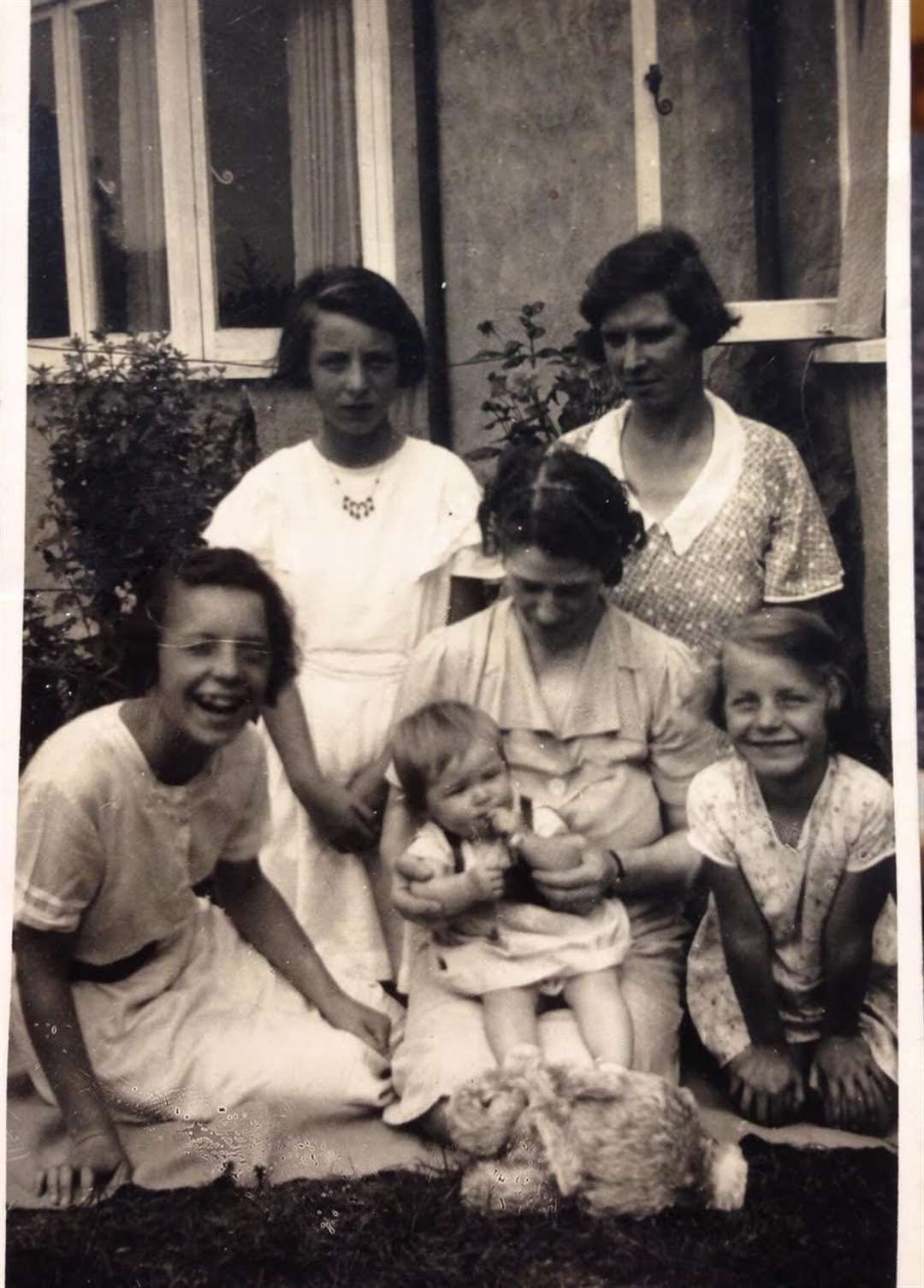 The Chappell family in about 1939 – back row, Eileen and mum Dorothy, front right, Margaret and, front left, Doris, their elder sister