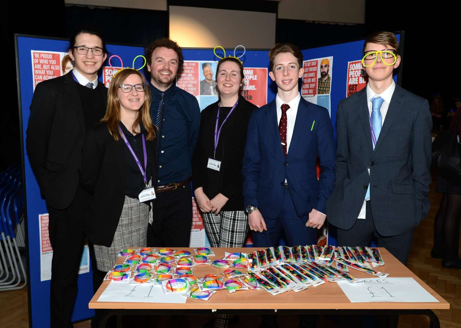 Birchwood School, Bishops Stortford. LGBGT+ event. Yr12 pupils with Stonewall trainers Joe Harlow (3rd left) ans Stonewall Advocate Jonathan Cowan (left). .Pic: Vikki Lince. (7569027)