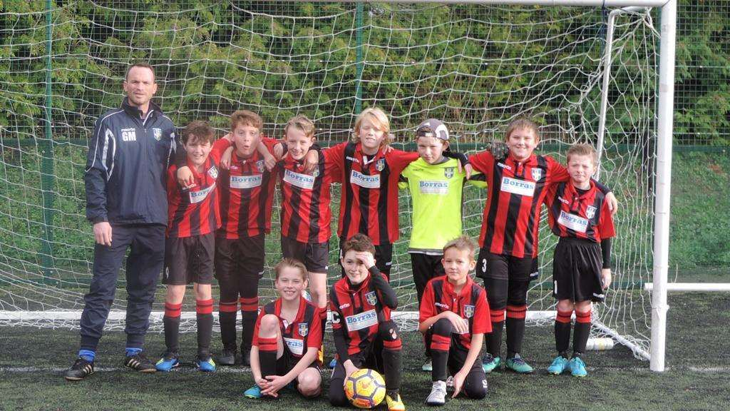 BSCFC under-11 Wanderers in their new away kit sponsored by Borras Construction