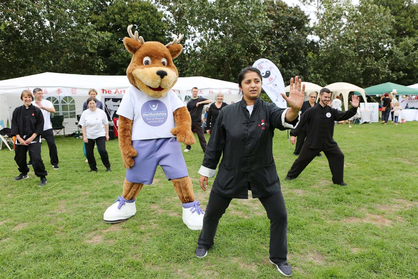 Goodness In The Park, Castle Park, Bishops Stortford. YOPA the Stag (event mascot) learning Tai Chi with Senior Instructor Vindy Hutchings of The Art of Tai Ji Quan.. (36522686)